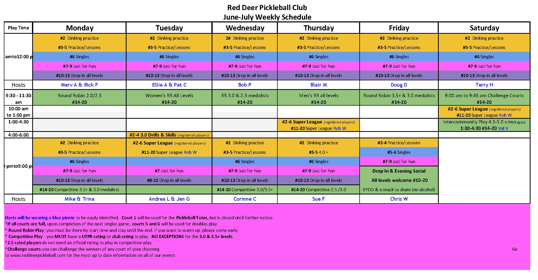 RDPC Weekly Schedule